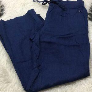 Style & Co navy blue linen straight leg pants